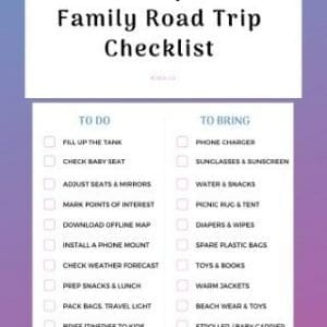 Family Road Trip Checklist Packing List Printable Download (Preview)
