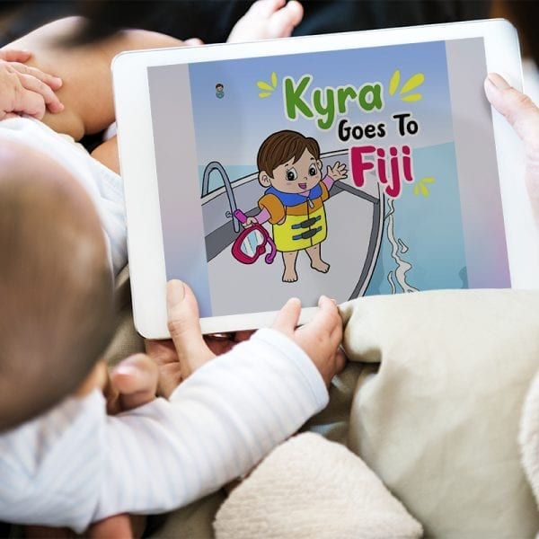Baby reading picture book Kyra Goes To Fiji children's travel adventure book